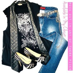 Rhinestone T with Faux Leather Vest & YMI Jeans